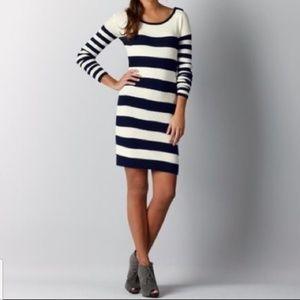 NWOT LOFT • Navy and Cream Sweater Dress